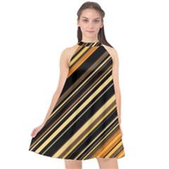 Black And Yellow Stripes Pattern Halter Neckline Chiffon Dress  by SpinnyChairDesigns