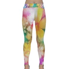 Watercolor Flowers Floral Print Classic Yoga Leggings by SpinnyChairDesigns