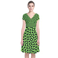 Abstract Black And Green Checkered Pattern Short Sleeve Front Wrap Dress