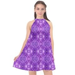 Geometric Galaxy Pattern Print Halter Neckline Chiffon Dress