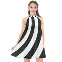 Black And White Zebra Stripes Pattern Halter Neckline Chiffon Dress  by SpinnyChairDesigns