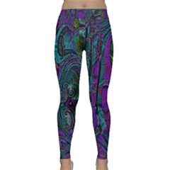 Purple Teal Abstract Jungle Print Pattern Classic Yoga Leggings by SpinnyChairDesigns