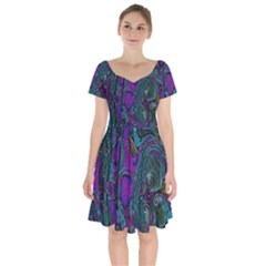 Purple Teal Abstract Jungle Print Pattern Short Sleeve Bardot Dress by SpinnyChairDesigns