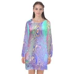 Pastel Marble Paint Swirl Pattern Long Sleeve Chiffon Shift Dress  by SpinnyChairDesigns