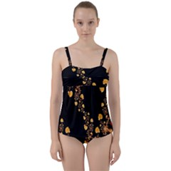 Abstract Gold Yellow Roses On Black Twist Front Tankini Set