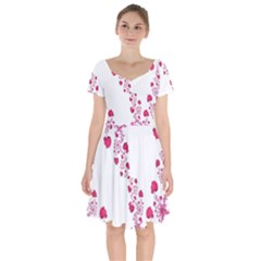 Abstract Pink Roses On White Short Sleeve Bardot Dress by SpinnyChairDesigns