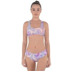 Pastel Pink Intricate Swirls Spirals  Criss Cross Bikini Set by SpinnyChairDesigns