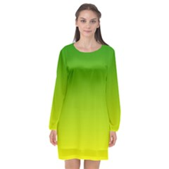 Avocado Ombre Green Yellow Gradient Long Sleeve Chiffon Shift Dress