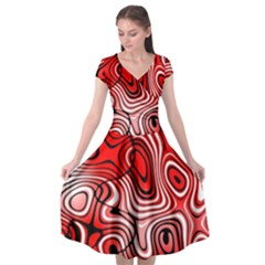 Black Red White Abstract Stripes Cap Sleeve Wrap Front Dress
