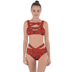 Red Grey Abstract Grunge Pattern Bandaged Up Bikini Set  by SpinnyChairDesigns