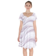 Pale Pink And White Swoosh Short Sleeve Bardot Dress