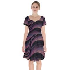 Dark Purple And Black Swoosh Short Sleeve Bardot Dress