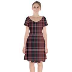 Black And Red Striped Plaid Short Sleeve Bardot Dress by SpinnyChairDesigns
