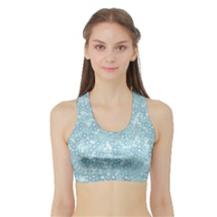 Light Blue Wildflowers Sports Bra With Border by SpinnyChairDesigns