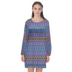Purple Blue Ikat Stripes Long Sleeve Chiffon Shift Dress