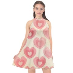 Pink Faded Hearts Halter Neckline Chiffon Dress  by SpinnyChairDesigns