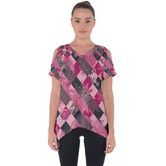 Abstract Pink Grey Stripes Cut Out Side Drop Tee by SpinnyChairDesigns