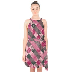 Abstract Pink Grey Stripes Halter Collar Waist Tie Chiffon Dress by SpinnyChairDesigns