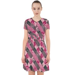 Abstract Pink Grey Stripes Adorable In Chiffon Dress by SpinnyChairDesigns