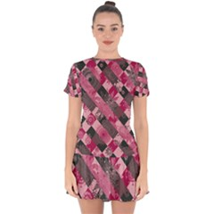 Abstract Pink Grey Stripes Drop Hem Mini Chiffon Dress by SpinnyChairDesigns