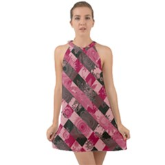 Abstract Pink Grey Stripes Halter Tie Back Chiffon Dress by SpinnyChairDesigns