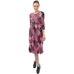 Abstract Pink Grey Stripes Ruffle End Midi Chiffon Dress by SpinnyChairDesigns