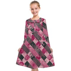 Abstract Pink Grey Stripes Kids  Midi Sailor Dress by SpinnyChairDesigns
