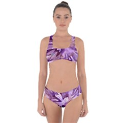 Plum Purple Abstract Floral Pattern Criss Cross Bikini Set by SpinnyChairDesigns