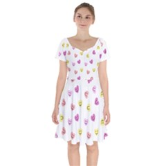 Cute Colorful Smiling Hearts Pattern Short Sleeve Bardot Dress by SpinnyChairDesigns