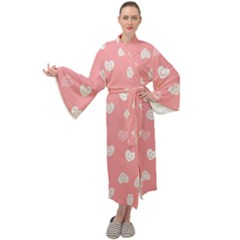 Cute Pink And White Hearts Maxi Velour Kimono by SpinnyChairDesigns