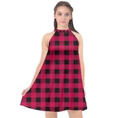 Dark Pink Black Buffalo Plaid Halter Neckline Chiffon Dress  by SpinnyChairDesigns