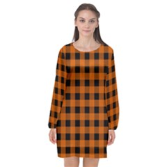 Orange Black Buffalo Plaid Long Sleeve Chiffon Shift Dress  by SpinnyChairDesigns