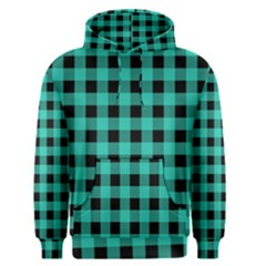 Turquoise Black Buffalo Plaid Men s Core Hoodie by SpinnyChairDesigns