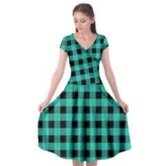 Turquoise Black Buffalo Plaid Cap Sleeve Wrap Front Dress by SpinnyChairDesigns
