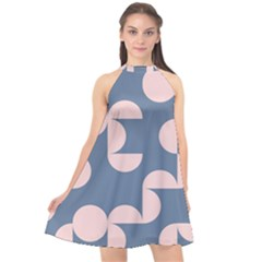 Pink And Blue Shapes Halter Neckline Chiffon Dress  by MooMoosMumma