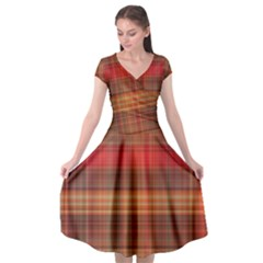 Madras Plaid Fall Colors Cap Sleeve Wrap Front Dress