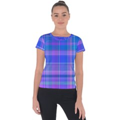 Madras Plaid Blue Purple Short Sleeve Sports Top  by SpinnyChairDesigns