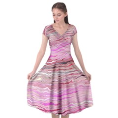 Pink Abstract Stripes Cap Sleeve Wrap Front Dress