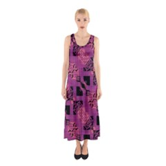 Fuchsia Black Abstract Checkered Stripes  Sleeveless Maxi Dress by SpinnyChairDesigns