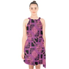 Fuchsia Black Abstract Checkered Stripes  Halter Collar Waist Tie Chiffon Dress by SpinnyChairDesigns