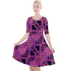Fuchsia Black Abstract Checkered Stripes  Quarter Sleeve A-line Dress by SpinnyChairDesigns