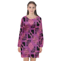 Fuchsia Black Abstract Checkered Stripes  Long Sleeve Chiffon Shift Dress  by SpinnyChairDesigns