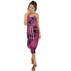Fuchsia Black Abstract Checkered Stripes  Waist Tie Cover Up Chiffon Dress by SpinnyChairDesigns