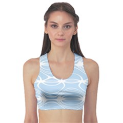 Blue And White Clam Shell Stripes Sports Bra