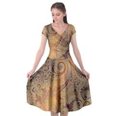 Terra Cotta Persian Orange Spirals Swirls Pattern Cap Sleeve Wrap Front Dress by SpinnyChairDesigns