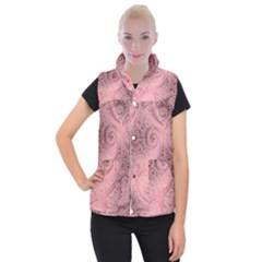 Orchid Pink And Blush Swirls Spirals Women s Button Up Vest by SpinnyChairDesigns