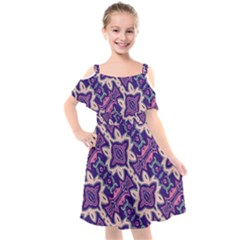 Amethyst And Pink Checkered Stripes Kids  Cut Out Shoulders Chiffon Dress by SpinnyChairDesigns