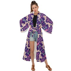 Amethyst And Pink Checkered Stripes Maxi Kimono by SpinnyChairDesigns