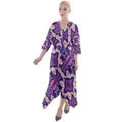 Amethyst And Pink Checkered Stripes Quarter Sleeve Wrap Front Maxi Dress by SpinnyChairDesigns