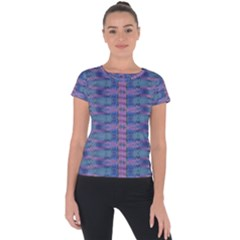 Purple Blue Ikat Stripes Short Sleeve Sports Top  by SpinnyChairDesigns